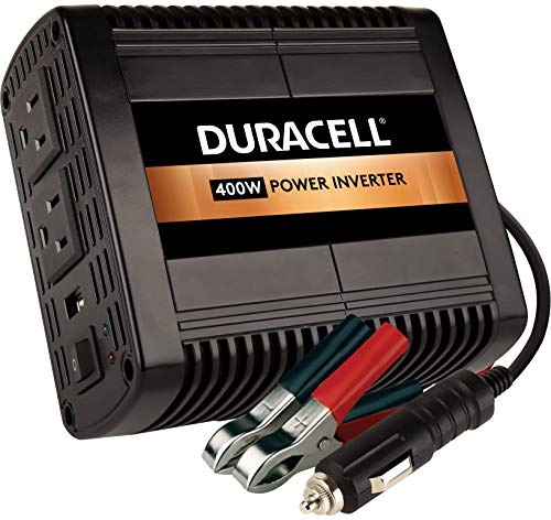 Duracell DRINV400 High Power Inverter 400 Watt Peak 320W Continuous, 12v DC Input Includes 2 AC Outlets (115V) Plus 2.1 Amp USB (5V)