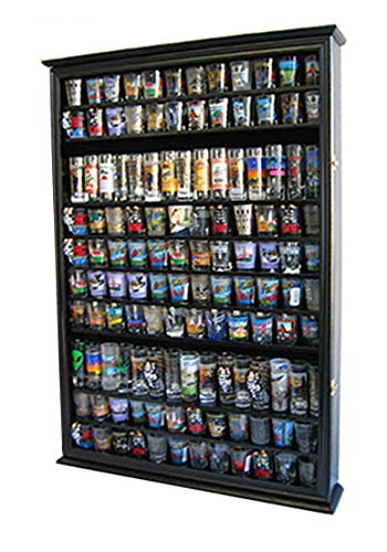 - Large 144 Shot Glass Display Case Holder Cabinet Shadow Box, Hinged Door, Solid Wood, Black Finish