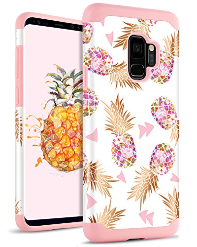 DOMAVER Pineapple Galaxy S9 Case Cover Shockproof Drop Protection 2 In 1 Hybrid Hard PC Soft Rubber Floral Cute Women Style Protective Phone Case for Samsung Galaxy S9, Rose Gold/Pink