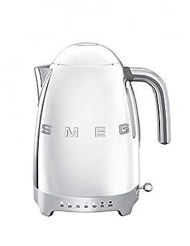 SMEG Calentador de Agua electrico, hervidor KLF04SSEU, 2400 W, 1.7 litros, De plástico, Acero Inoxidable, Cromo