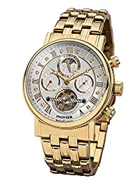 """Pionier - high quality automatic wrist watch Chicago """"Gold Silver"""" stainless steel with stainless steel strap, two year warranty - 35 Jewels - Made in Germany"""