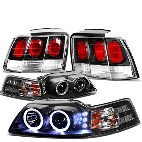 For Ford Mustang Pair of Black Housing Amber Corner Halo Projector LED DRL Headlight + Black Altezza Style Tail Light