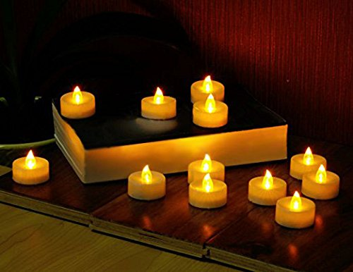 Waynewon Flameless LED Tea Light Candles Battery, Warm Amber Grow and Flickering Flame, Perfect for Wedding, Party and Birthday Decoration [Pack of 24]