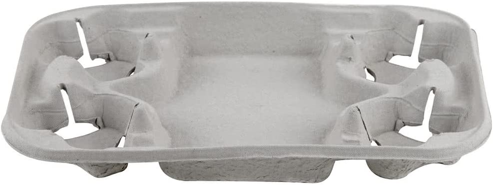 250//Case Huhtamaki Chinet 20969 StrongHolder 4 Cup Pulp Fiber Carrier with Tray