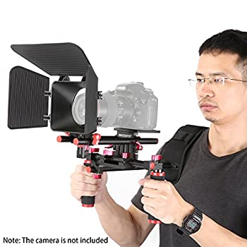 Neewer Camera Movie Video Making Rig System Film-maker Kit For Canon Nikon Sony & Other Dslr Cameras, Dv Camcorders,includes: Shoulder Mount, Standard 15mm Rail Rod System, Matte Box (Red & Black) 2