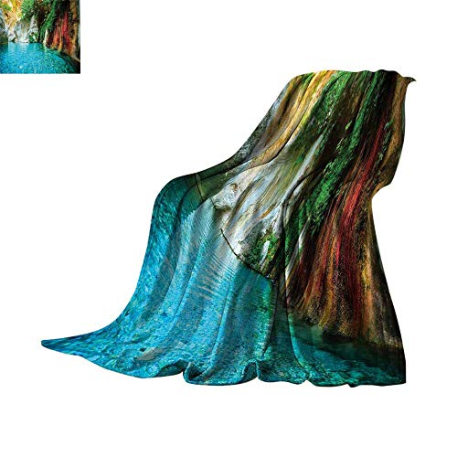 Luckyee Microfiber All Season Blanket Lake House Decor Collection,Isolated Natural Lagoon Cove Crystal Clear Water Lake Ivy Colorful Moss Rocks Sunshine,Multi Warm All Season Blanket for 50
