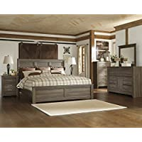 Juararoy Casual Dark Brown Color Replicated rough-sawn oak Bed Room Set, King Bed, Dresser, Mirror, Two Nightstands, Chest