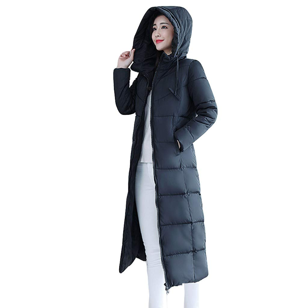 Funnygals - Women's Designer Winter Warm Parka Quilted Coat Full Zip Up Hooded Long Ladies Womens Jacket Outwear Black by Funnygals - Clothing