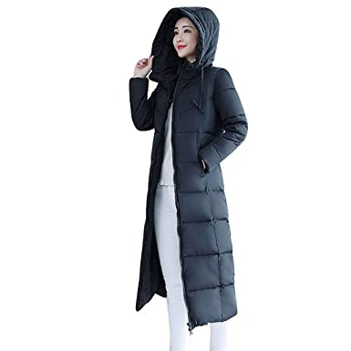 Fashion Womens Hooded Puffer Down Coat Long Parka Winter Padded Jacket Outwear