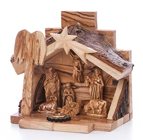 Zuluf Small Hand Carved Nativity Set Scene With Bark Roof Made In Bethlehem -