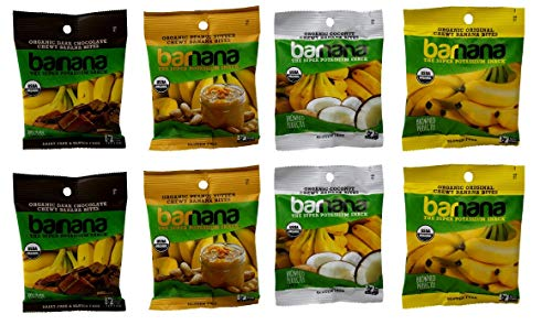 Growing Banana Organically - Barnana Organic Chewy Banana Bites 4 Flavor 8 Snack Bag Variety Bundle, (2) each: Peanut Butter, Dark Chocolate, Coconut, Original (1.4 Ounces)