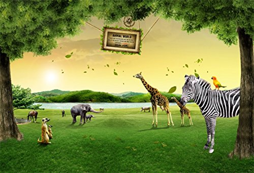 Used, AOFOTO 7x5ft Zoo Animals Backdrops Giraffe Zebra Photo for sale  Delivered anywhere in USA