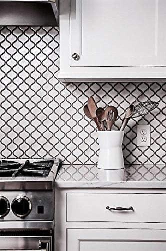 Backyard Gas Fire Pit Ideas, White Glossy Lantern Arabesque Porcelain Mosaic Tile Wall And Floor Backsplash Amazon Com