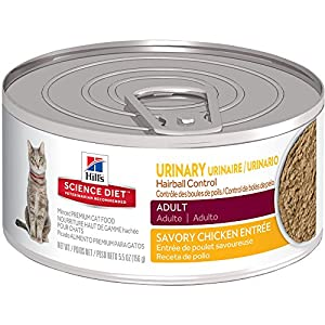 Hill'S Science Diet Adult Urinary & Hairball Control Wet Cat Food, Savory Chicken Entrée Canned Cat Food, 5.5 Oz, 24-Pack