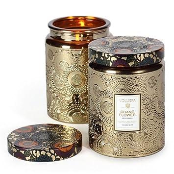 Amazoncom Voluspa Crane Flower Large Metallic Glass Jar Candle 16