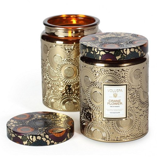 Voluspa Crane Flower Large Metallic Glass Jar Candle 16 oz (Metallic Flower)