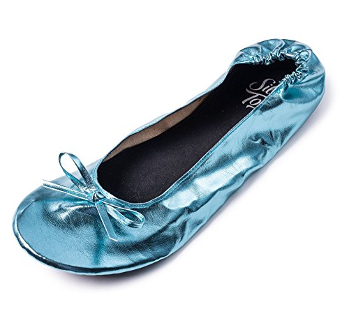 Women's Foldable Portable Travel Ballet Flat Roll up Slipper Shoes (Medium, Aqua) by Silky Toes (Image #1)