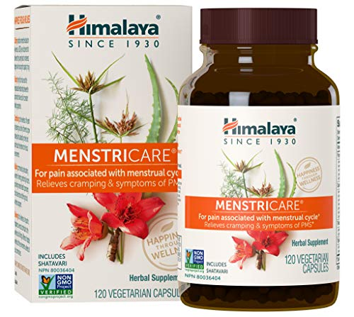 Himalaya MenstriCare with Shatavari for PMS, Menstrual Cramp Relief and Women's Health, 800 mg, 1 Month Supply,120 Capsules