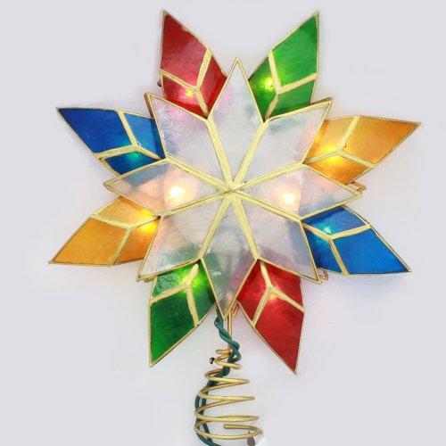 Kurt Adler 10Light MultiColor Capiz Star Tree Topper