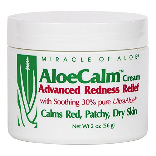 Aloe 2 Ounce Jar - Miracle of Aloe, AloeCalm Advanced Redness Relief Cream with 30% UltraAloe, 2 ounce jar