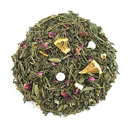 Té verde sencha, cardamomo verde, pasas, naranja, clavo, rosa, semillas de cardamomo, merengue, aroma.: Amazon.es: Alimentación y bebidas