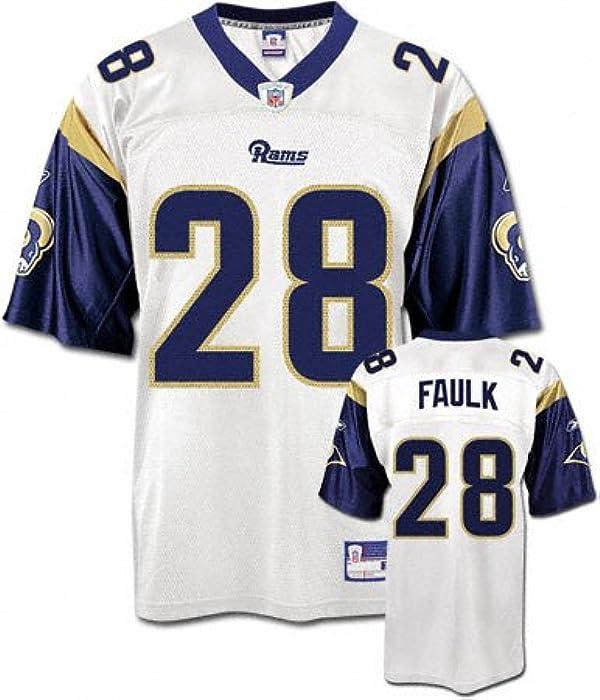 c5eb78be2 Amazon.com  Marshall Faulk White Reebok NFL Replica St. Louis Rams ...