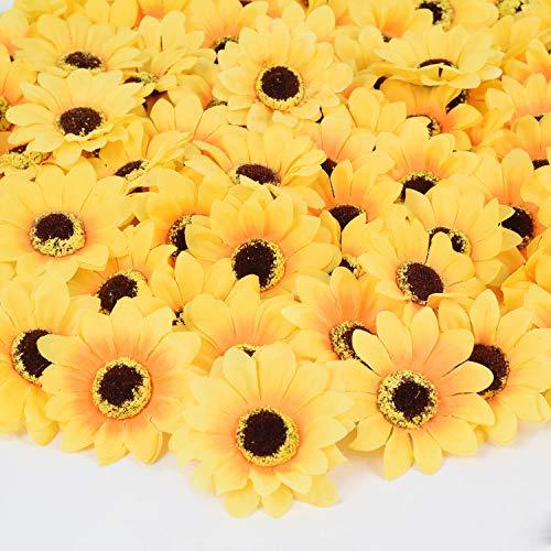 Sunflower Party Supplies (DearHouse 100 Pcs Artificial Silk Sunflower Heads, Fake Sunflower 3.1