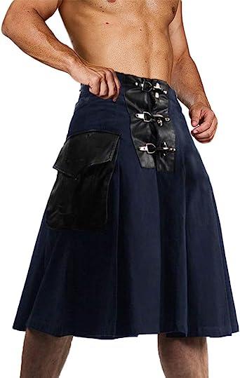 UFS Scottish Black Wedding Kilt Mens Adjustable Fashion kilts Utility kilt pin