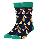 Zmart Men's Fun Crew socks, Cocktail Pattern Cozy Cool Crazy Cotton Casual Socks Size 8-14
