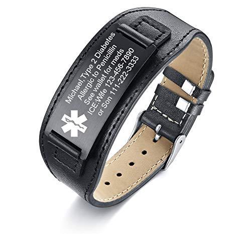 - VNOX Custom Engraving-Medical Alert ID Wide Black Genuine Leather ID Tag Adjustable Wristband Bracelet for Men