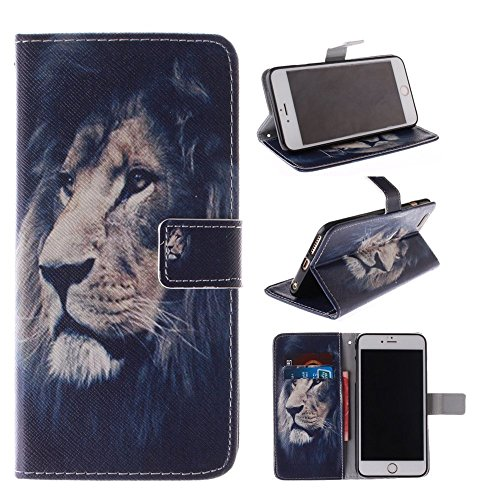 pod Touch 5 Kickstand Case,Bat King Pu Leather Case Magnet Wallet Credit Card Holder Flip Kickstand Cover Case for Apple Ipod Touch 5[Majestic Lion] ()