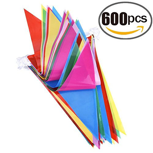 600pcs Multicolor Pennant Banner Bunting Flags 1000 Ft for Festival Party Celebration Events and Backyard Picnics Nylon Fabric Decorations Flags (Multi Color Pennant)