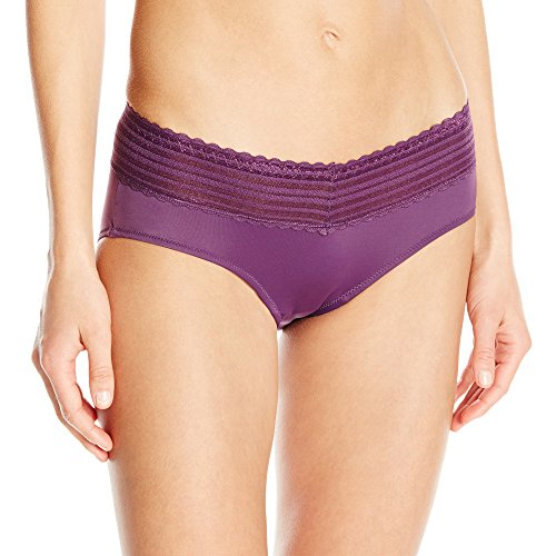 Warner's Women's No Pinches Lace Hipster Panty, Purple Fig, 5/Small ()