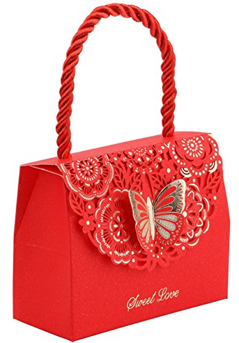 (20pcs Butterfly Decorative Boxes Paper Tote Gift Bags with Handle, DriewWedding Wedding Flower Favor Boxes for Anniversary, Birthday Parties, Baby Shower, Bridal Showers - Red, 3.5