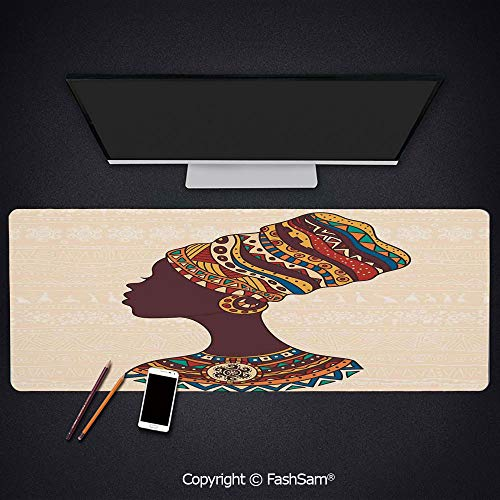 Desk Gaming Mouse Pad Non-Slip African Woman in Traditional Ethnic Fashion Dress Portrait Glamour Graphic Keyboard Pad for Laptop(W27.5xL11.8)