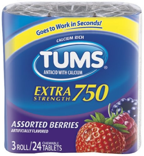 TUMS Extra Strength Assorted Berries Antacid Chewable Tablets for Heartburn Relief, 4 pack of 3 rolls of 12ct ()
