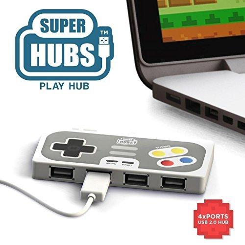 Super Hub PlayHub 4 Port USB 2.0 Hub | Retro Game Controller Style USB Hub by Mustard Gifts