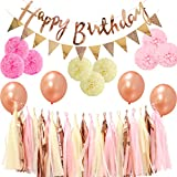 LyButty Party Decorations,Rose Gold Happy Birthday Banner,Triangle Flags, Tissue Paper Pom Poms,Tissue Paper Tassels, Latex Balloons