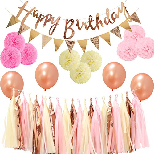 LyButty Party Decorations,Rose Gold Happy Birthday Banner,Triangle Flags, Tissue Paper Pom Poms,Tissue Paper Tassels, Latex Balloons by LyButty