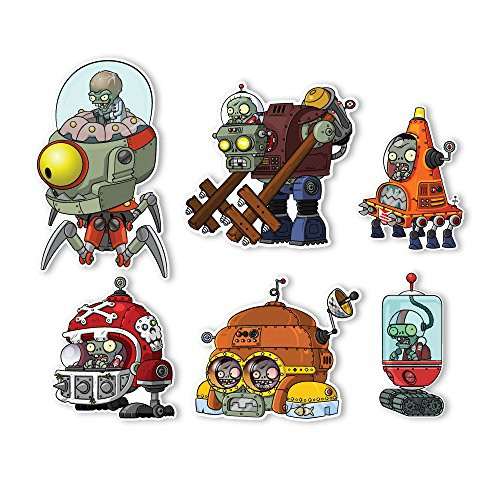 Plants vs. Zombies 2 Wall Decals: Special Far Future Zombie Set II (Six Zombies 5 to 6 inches Longest Side) (Plants Vs Zombies Disco)