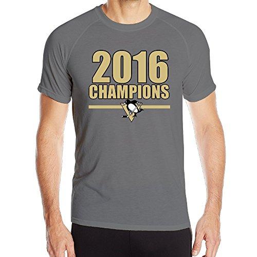 EWIED Men's 2016 Pittsburgh Hockey TeamBreathable Sports Tee ShirtsShort Sleeves T-Shirts DeepHeather SizeL