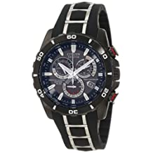 Stainless Steel Black Dial Atomic Eco-Drive Chronograph Perpetual Calendar Sapphire Radio Controlled