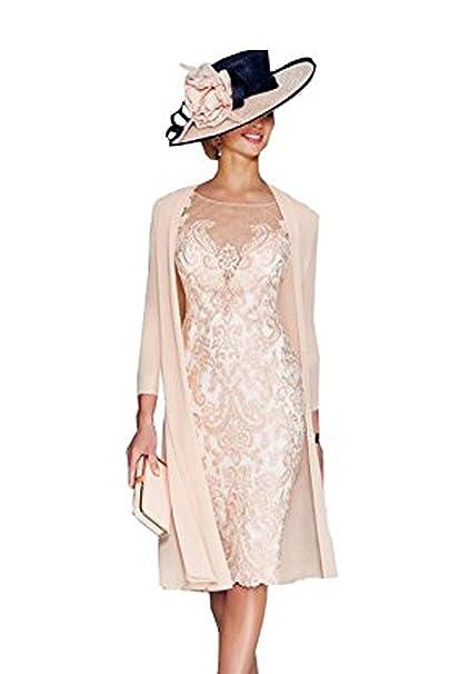 on sale 36f99 433ea dressvip, vestito rosa di pizzo a mezze maniche, lunghezza ...