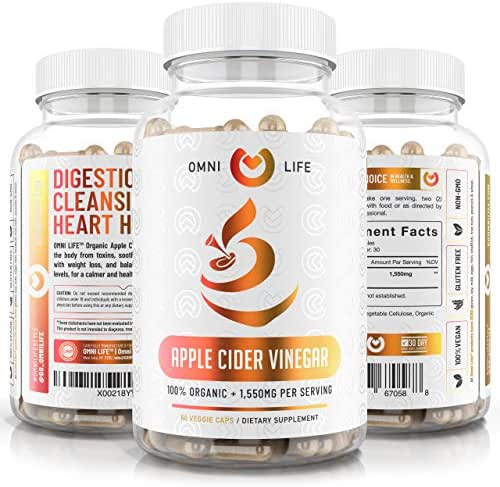Apple Cider Vinegar Capsules - 100% Organic Max Strength 1550mg Natural Weight Loss, Detox, Digestion - Powerful Cleanser, Premium Certified Organic & Non-GMO ACV Supplement – 60 Vegan Capsules.
