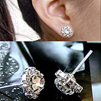 Flamboyantgoods Women Fashion Jewelry Lady 1 Pair Elegant Crystal Rhinestone Ear Stud Earrings