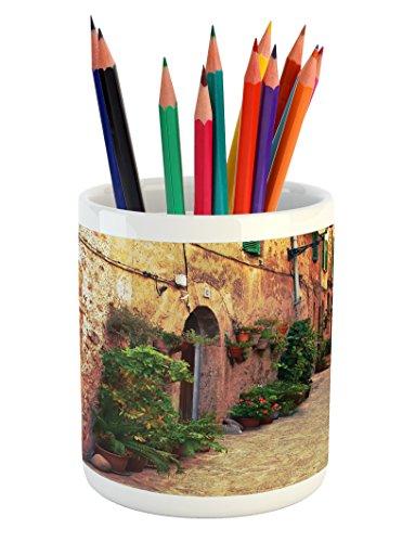 Lunarable Wanderlust Pencil Pen Holder, Ancient Street in Valldemossa Village Mallorca Spain Vintage Door Road, Printed Ceramic Pencil Pen Holder for Desk Office Accessory, Amber Orange Green by Lunarable