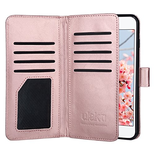 ULAK iPhone 8 Plus Wallet Case, iPhone 7 Plus Case, PU Leather Flip Purse Cover w/Multi Credit Card Holders Wrist Strap TPU Skin Case for iPhone 7 Plus/8 Plus 5.5 inch (Rose Gold)