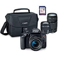 Canon EOS Rebel T7i Digital SLR Camera Kit with EF-S 18-55mm STM + EF 75-300mm III + ES100 Case + 32GB Class 10 SD Card - International Version