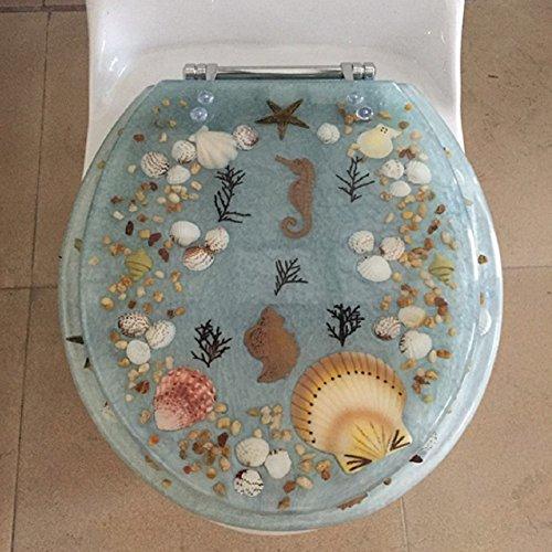 Heavy Duty Comfort Seahorse Seashells Oval Elongated Toilet Seats with Cover Acrylic Seats. (Aqua 19