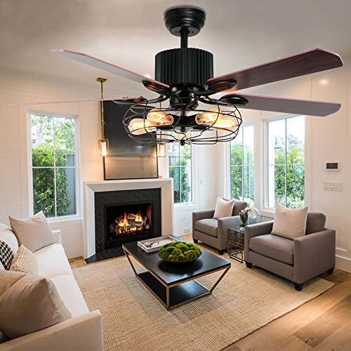 15 vintage style ceiling fan tropicalfan industrial cage ceiling fan 5 light remote control indoor living room bar mute vintage fans aloadofball Images